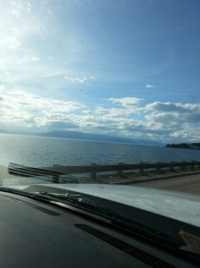 We drove past gorgeous Flathead Lake yesterday on our way to the campground. This terrible picture doesn't do justice to its beauty. Please excuse the bug filled windshield... it was a long drive! ;)